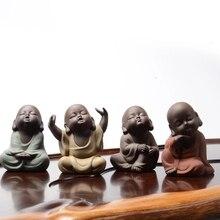 Китайский ручной набор для чая Фиолетовый; песок милый буддийский монах чай аксессуары домашний чай Pet украшение автомобиля фиолетовый; песок керамика ювелирные изделия