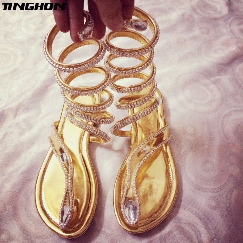TINGHON New Arrive Summer Hot Snake Women Shoes women sandals Crystal Around Women Gladiator Sandal women Boots 35-46 image