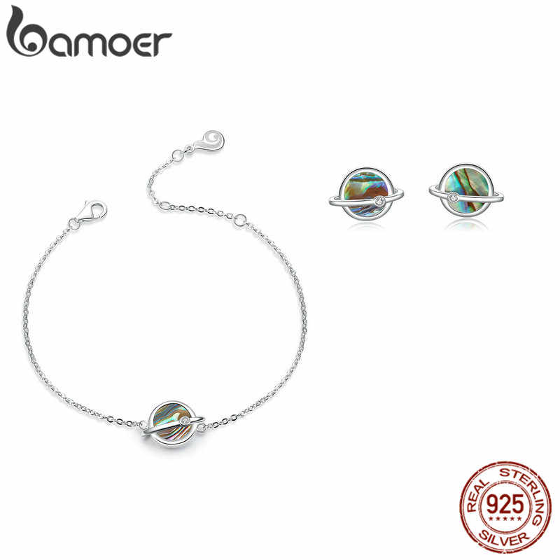 bamoer Design Planet Stud Earrings and Bracelets for Women 925 Sterling Silver Jewelry Sets Natural Shell Fashion Bijoux ZHS119