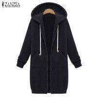 ZANZEA 2016 Autumn Winter Pullovers Women Long Hooded Sweatshirt Coat Casual Pockets Zip Up Outerwear Hoodies