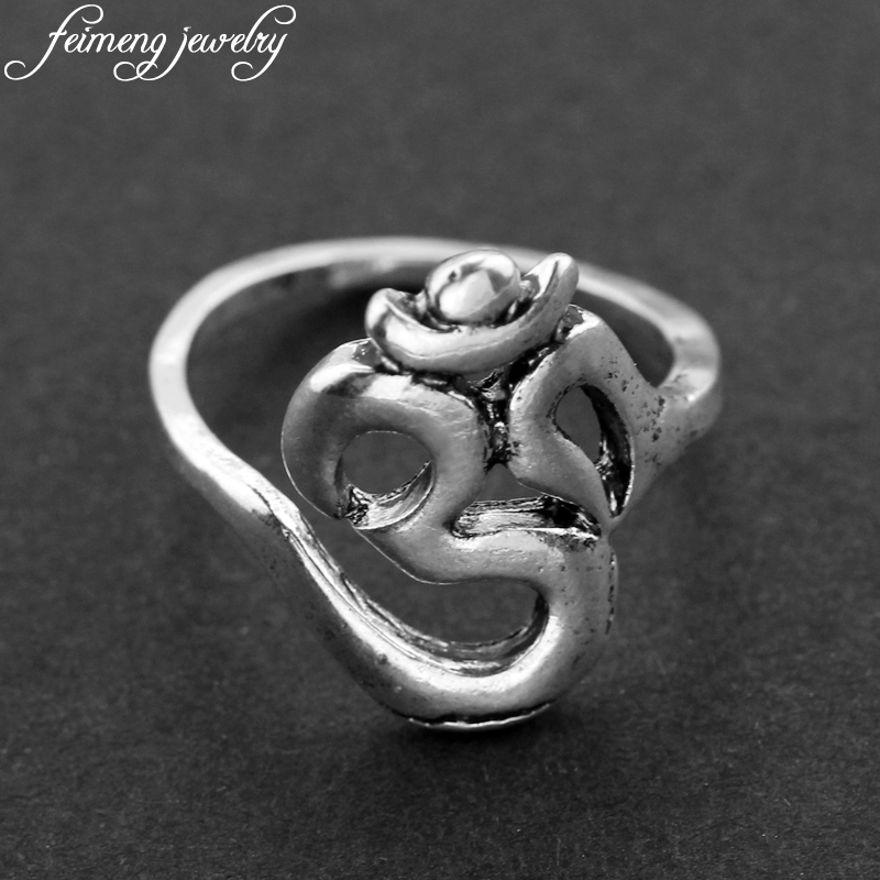 Hindoo OHM Hindu Buddhist AUM OM Ring Hinduism Yoga India Outdoor Sport Rings For Women Men Religious Symbol Jewelry