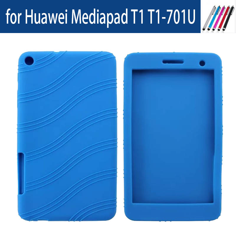 Ultra Slim Soft Silicon Back Cover Case For Huawei Mediapad T1 701U Tablet Case For Huawei T1 7.0 T1-701U Free Stylus