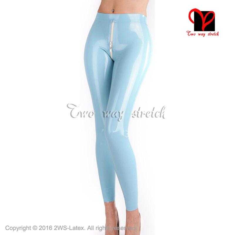 Bleu clair Latex pantalon avant vers l'arrière à glissière pantalon en caoutchouc crayon Bas XXXL plus taille KZ-157