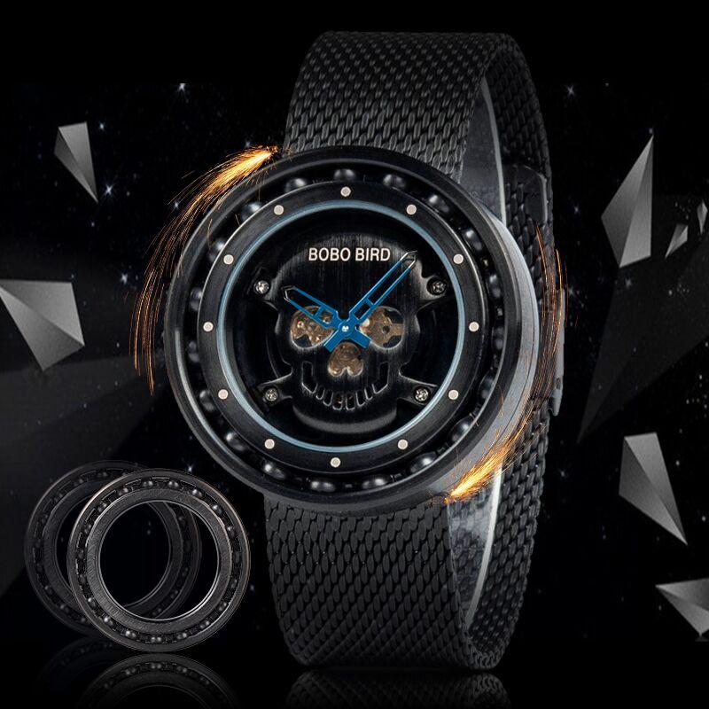 BOBO BIRD Steel Watch Timepieces Skull Dial 360 Degree Rotation Bearing Construction Wristwatches Relogio Masculino De Aco W-Q21
