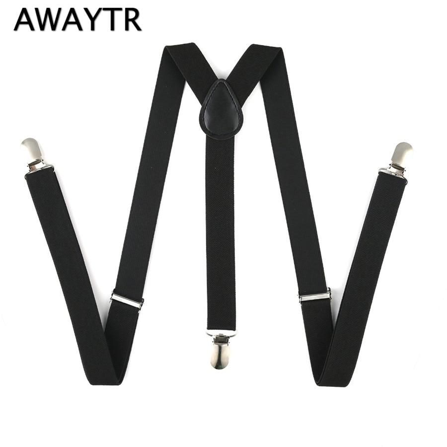 AWAYTR Men's Braces 2.5cm Width Unisex Army Green/Black Suspenders 2018 New Adjustable Casual Leather Suspender Belt For Wedding