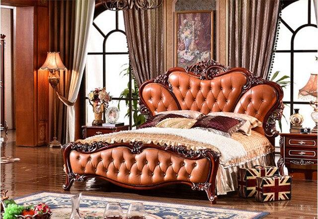 Talla de madera de estilo europeo sólido (cama de cuero) antiguos ...