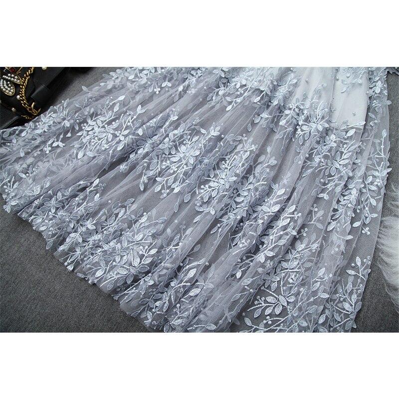 Lady Elegant Sexy Long Evening Party Dresses Female Vestidos 2019 Women Designer Full Sleeve Embroidery Tulle Autumn Dresses - 6