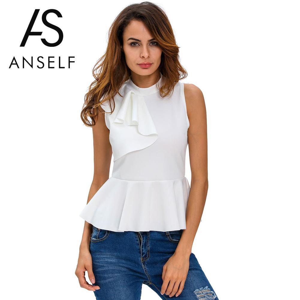 Anself 2019 Summer Office Women   Blouse   Fashion Asymmetric Ruffle Side Peplum Top Turtleneck Sleeveless Back Zipper   Blouses     Shirt