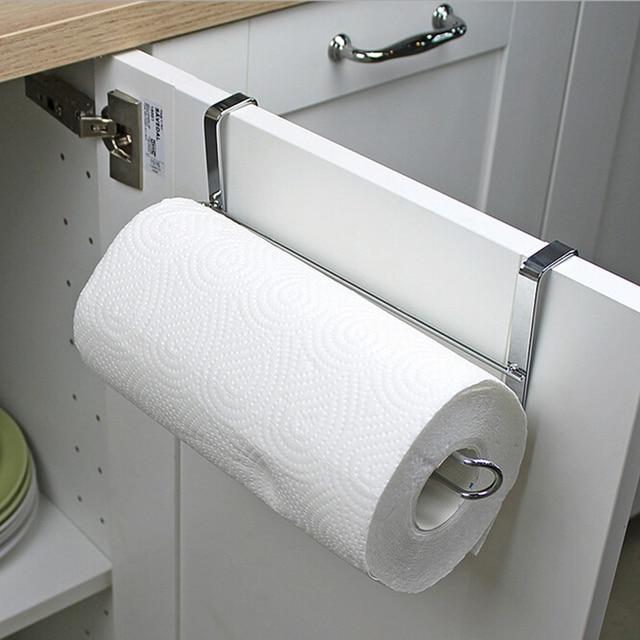 Stainless Steel Kitchen Tissue Holder Cabinet Door Back Hanging Paper Towel Rack Toilet Roll