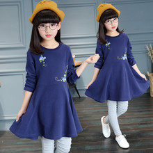 2016 Autumn Girls Dress solid Kids long sleeve Dresses Girls o-neck Clothes Party Princess children cothing birthday Dress