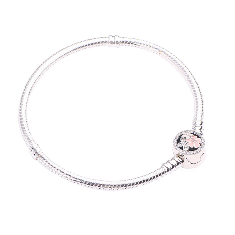 Couqcy Authentic 925 Sterling Silver Poetic Daisy Cherry Blossom Mixed Enamels & Clear CZ Snake Chain Bracelet Jewelry