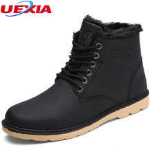 UEXIA High Quality Outdoor Flats Leather Men Snow Boots Winter Warm Comfortable Black Brown Man Shoes