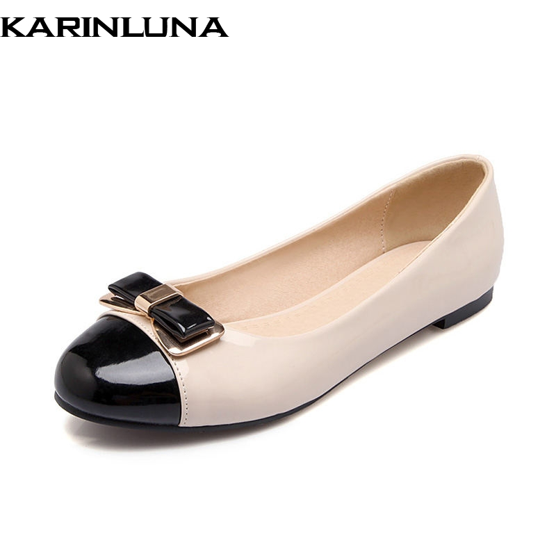 KARINLUNA  on sale Spring Summer Sweet Shallow Women Flats Big Size 33-43 Bow Decoration slip-on Casual Shoes Woman 2017 summer hot sale pregnant women flats loafers shoes leather slip on shallow mouth pointed casual single shoes eu size 35 40