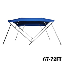 "Mayitr 67-72ft Boat Cover 4 Bow 54"" High 8"" L x 67""-72"" W Rear Poles Navy Blue outdoor tool"