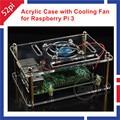Acrílico Transparente Caso Shell Gabinete com Ventilador de Refrigeração para Raspberry Pi 3 modelo B/Raspberry Pi 2 Modelo B/Raspberry Pi B +