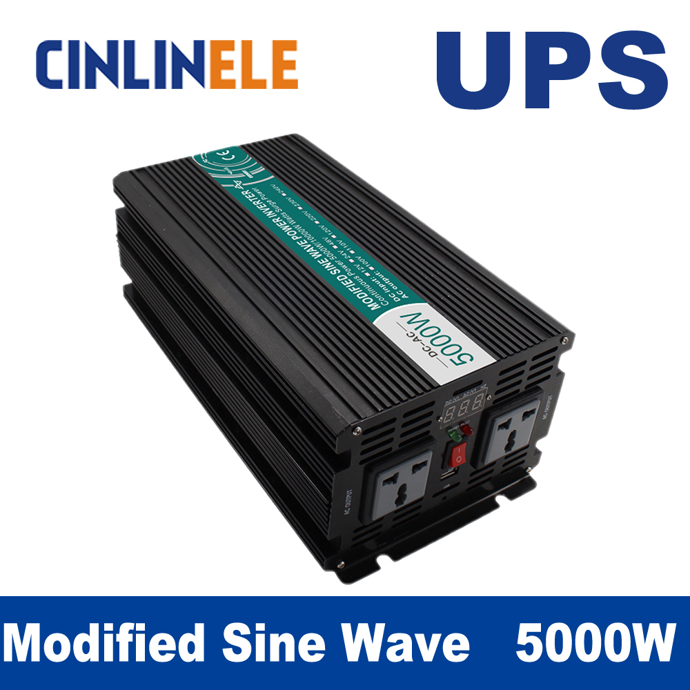 Universal inverter UPS+Charge Modified Sine Wave Inverter 5000W CLM5000A DC12V 24V 48V  to AC 110V 220V 5000W Surge Power 10000W 5000w dc 48v to ac 110v charger modified sine wave iverter ied digitai dispiay ce rohs china 5000 481g c ups