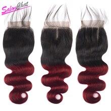 SalonChat Hair Ombre Бразильский Закрытие Объемной Волны 8-20 Дюймов 1B Бургундский Двухцветный