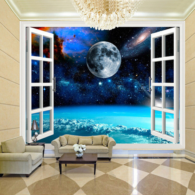 Custom mural photo wallpaper 3d window space planet earth for Decoration murale wish