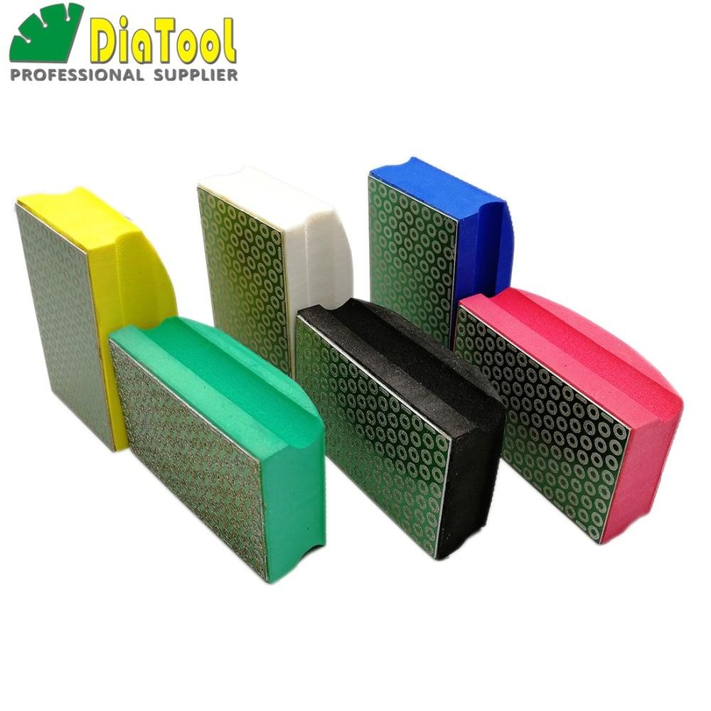 DIATOOL 6pcs set Electroplated Diamond Hand Polishing Pad 90X55MM Hand Pad Hard Foam backed Grinding Block