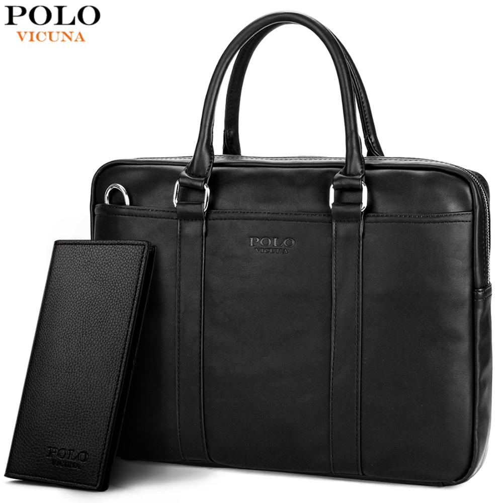 d5269a1bb5 VICUNA POLO Famous Brand Fashion Casual Business Men Leather Briefcase Bag  Trendy Solid Leather Mens Handbag Simple Men Bag New