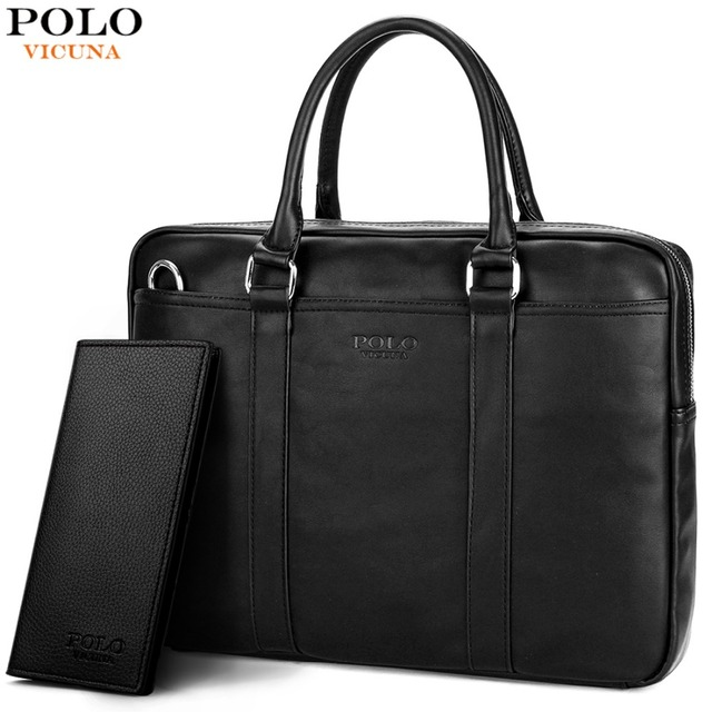 VICUNA POLO Famous Brand Fashion Casual Business Men Leather Briefcase Bag Trendy Solid Leather Mens Handbag Simple Men Bag New