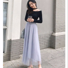 2019 Spring Summer Vintage Skirts Womens Elastic High Waist Tulle Mesh Skirt Long Pleated Tutu Female Fashion Girls