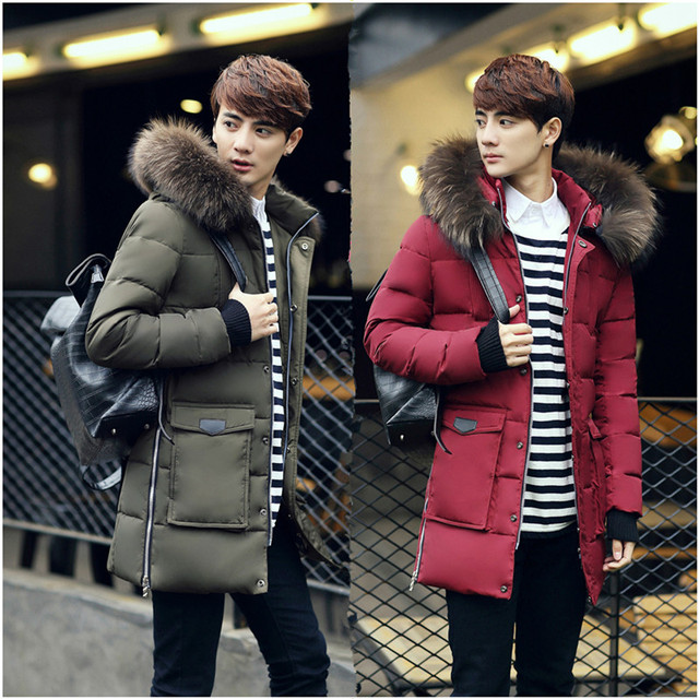 2016 Новый Мужской Пуховик И Длинные Участки Slim Корейской Мужской Высокая Бархатная Куртка Мужчины A129