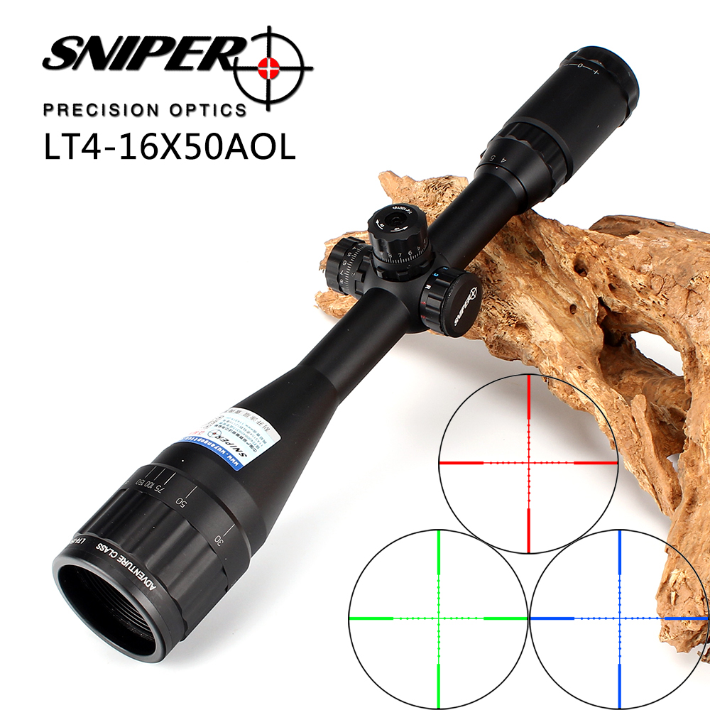 Sniper 4-16X50 AOL 1 inch Full Size Tactical Optical Sight Illuminate Mil-Dot RifleScope Locking Resetting Hunting Rifle Scope sniper white version of the sniper 6 24x50aol traffic light mil dot sight optical cross earthquake sniper scope
