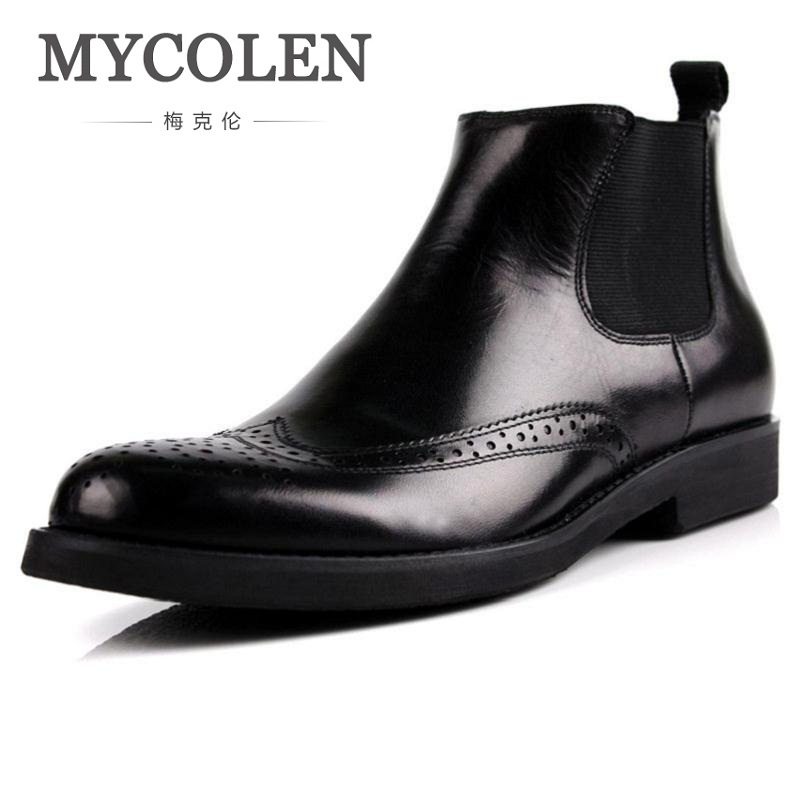 MYCOLEN 2018 Fashion Men's Genuine Leather Ankle Boots Man Pointed Toe Punk British Style Brogue Chelsea Boot Mens Shoes brogue boots two tone