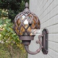 European outdoor vintage black aluminum E27 LED bulb wall light fixture home deco retro bronze glass ball corridor lamp