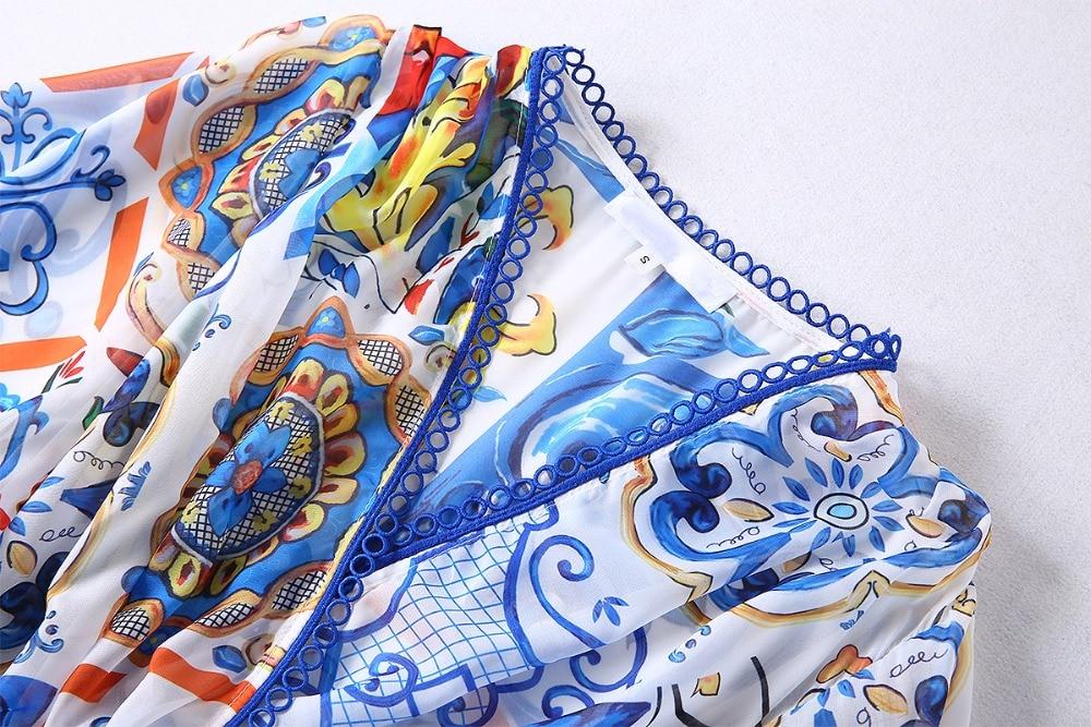 longueur Pièces Plus A Flare 2 Custom Taille Robe Floral Nouvelle 2018 cou Complet Manches Imprimé Arrivée V Cheville Automne ligne Femmes rdCsxtQBho