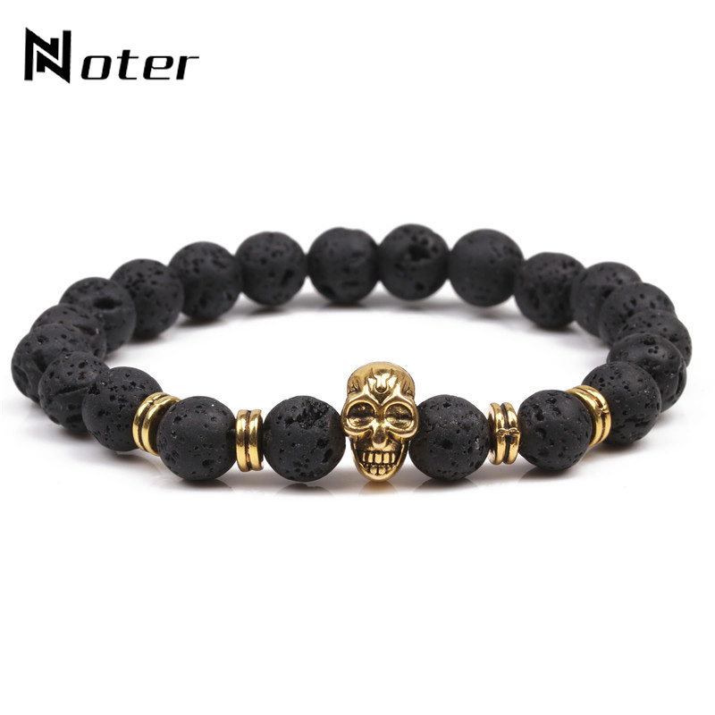 Punk 8mm Lava Bead Natural Stone Bracelet Vintage Gold Color Skull Braclet For Men Cool Biker Jewelry Accessories Heren Armband
