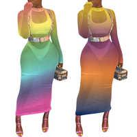 Длинное пляжное платье с градиентом, сексуальное женское Прозрачное Бикини, накидка, купальник, купальник, накидка, 2019
