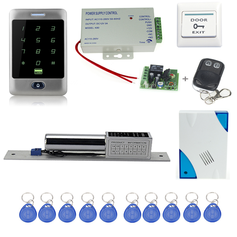 ФОТО Free shipping 125KHz access control system C30+electronic bolt lock +power supply+key fobs+door bell+exit button+remote control