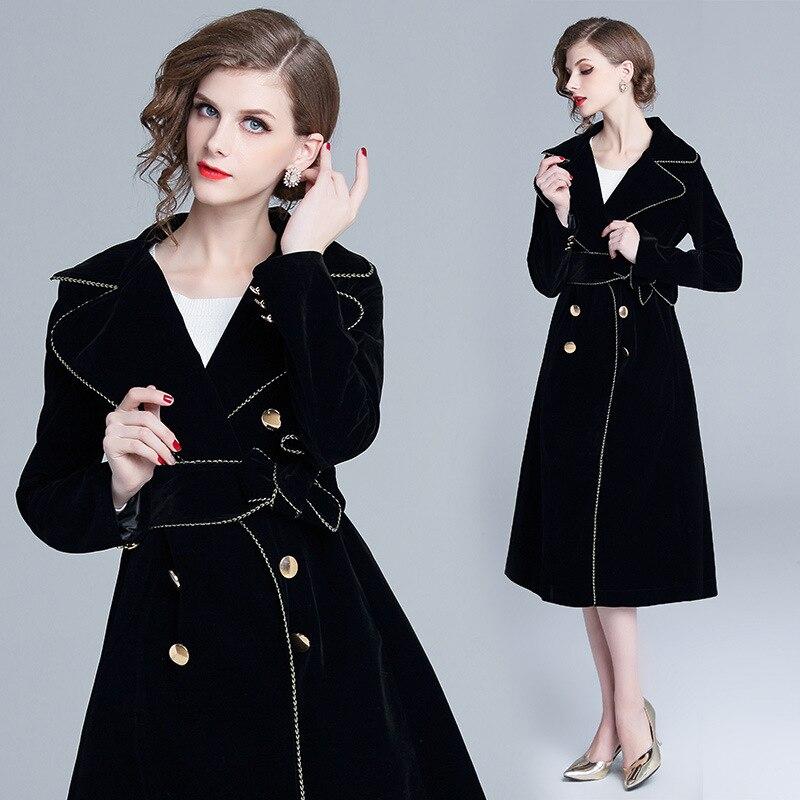 Longue Nouvelles 2018 Couleur Hiver Solide Rétro Automne breasted Vintage Manteau Lâche Noir Tranchée Velours Double Femmes De It8wB