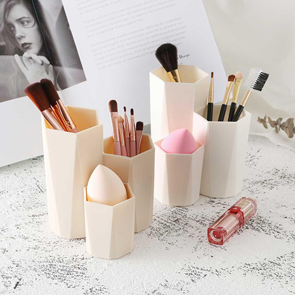 Makeup Organizer Plastic Makeup Box 3 Lattices Jewelry Cosmetics Brush Storage Box For Office Desk Stationery <font><b>Organizers</b></font> image