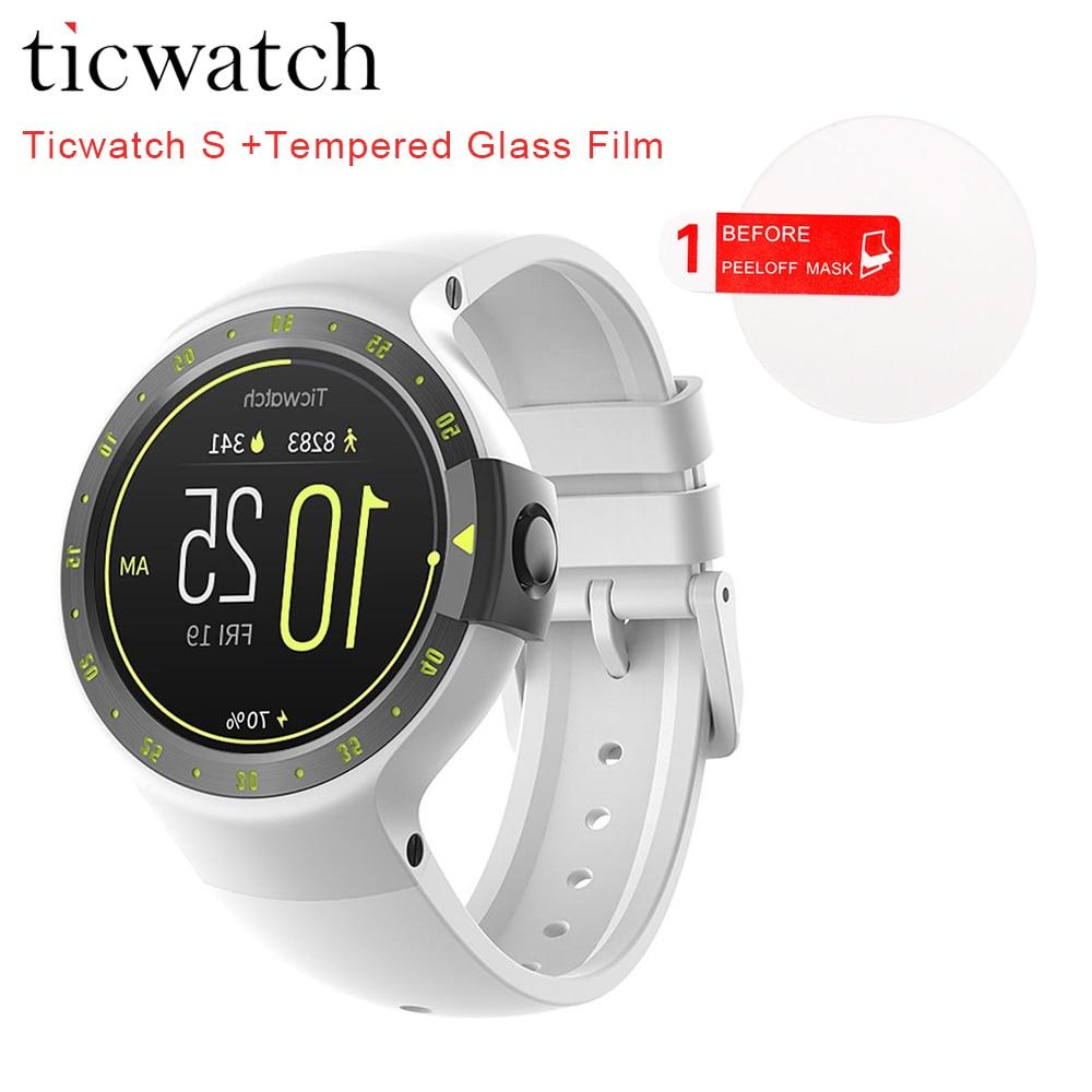Оригинальный ticwatch S рыцарь Смарт-часы Android Wear 2.0 Bluetooth 4.1 Wi-Fi IP67 спортивные наручные часы для iOS с телефона Android плёнки