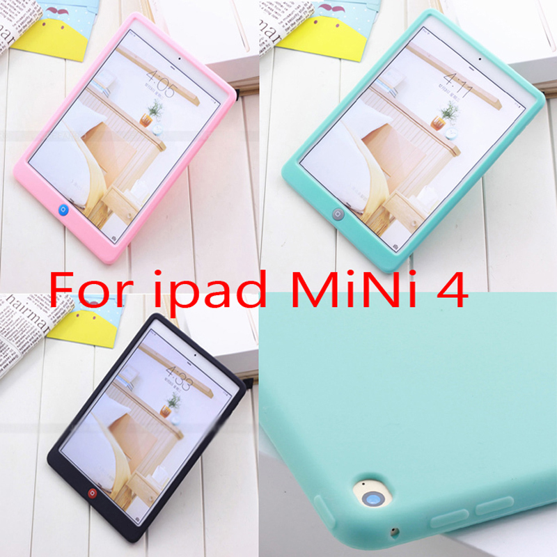 For ipad mini 4 Jelly Bean Cute Smart Soft Silicone Rubber Protective Case  For ipad Mini 4 Children Soft Silicone Case