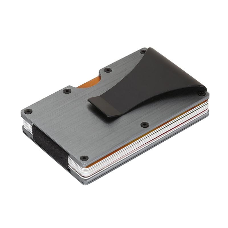 Minimalista Sottile Portafoglio RFID Blocco Porta Carte di Credito Portafoglio Tasca Frontale per Gli Uomini e Le Donne Con I Soldi Morsetto