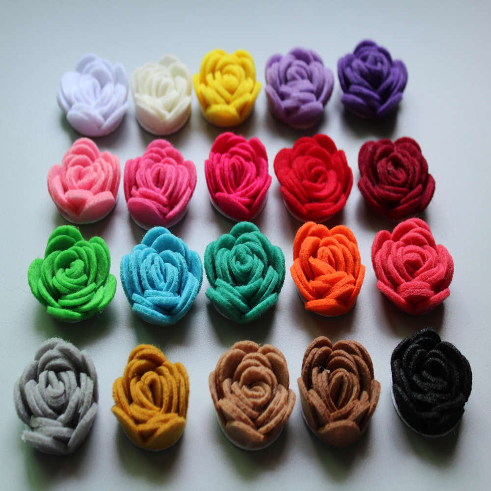 Free Shipping!2015 New 60pcs/lot 20colors Fashion handmade felt rose flower Diy for hair accessories headband ornaments metting joura vintage bohemian ethnic tribal flower print stone handmade elastic headband hair band design hair accessories