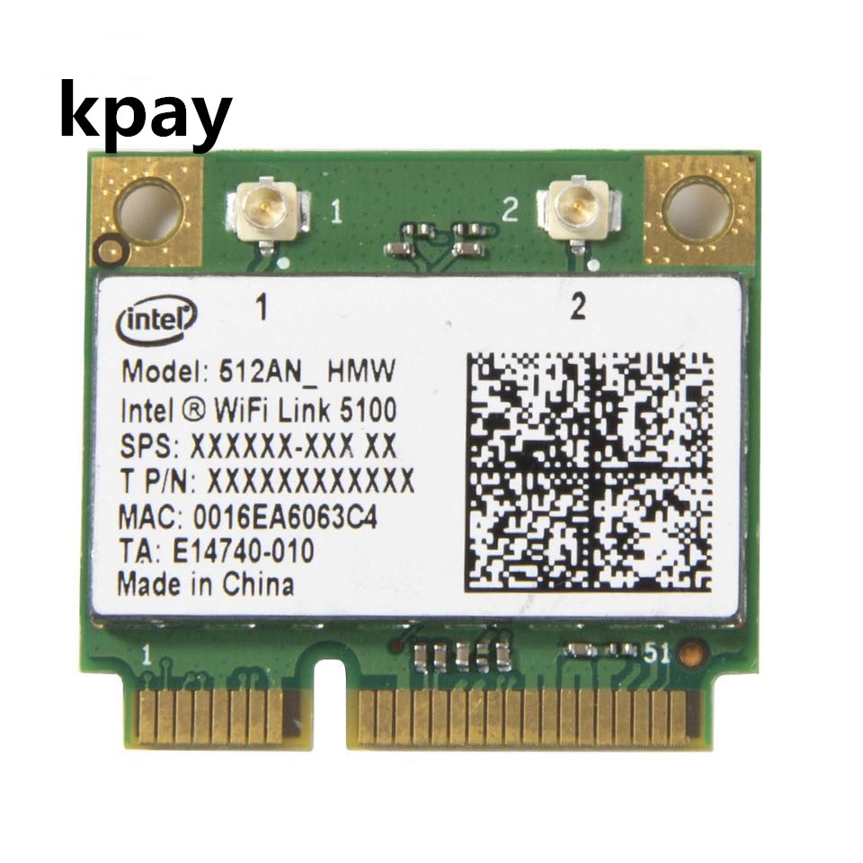 Wireless Wi Fi Network Card Adapter With Intel 5100 512AN_HMW with Half Mini PCI E 802.11a/g/n Dual Band 300Mbps For Laptop-in Network Cards from Computer & Office