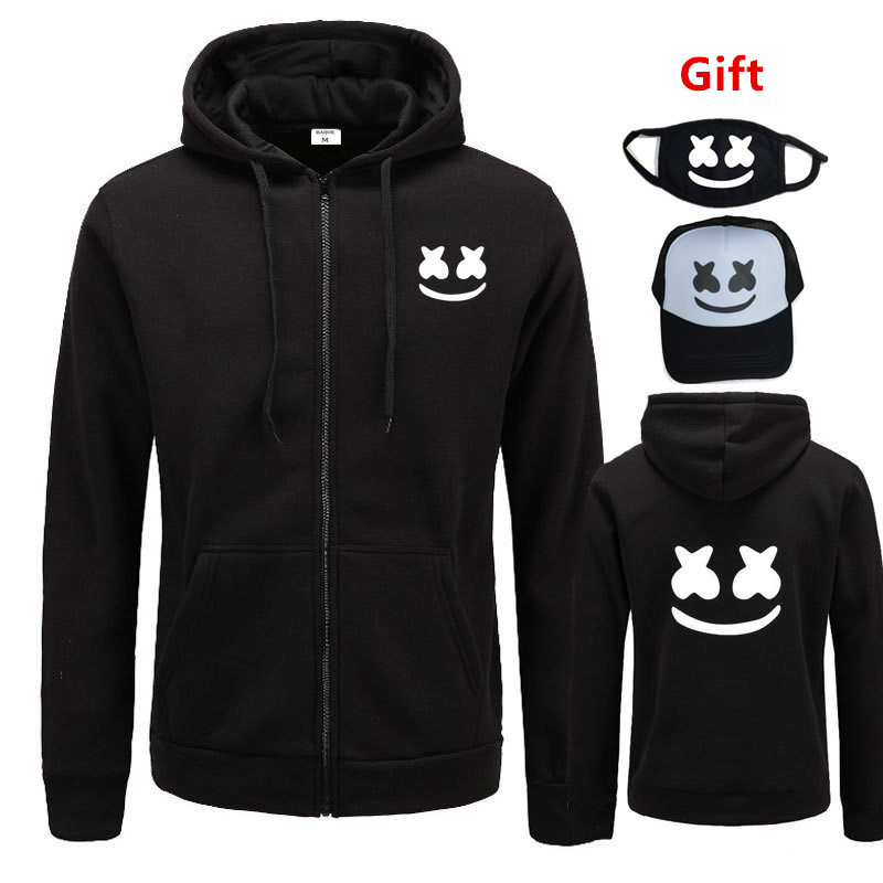 Cap&Mask as Gifts DJ Marshmello hoodies sweatshirt men women hip hop Rapper Bboy dancer zipper jacket tracksuit hooded coat