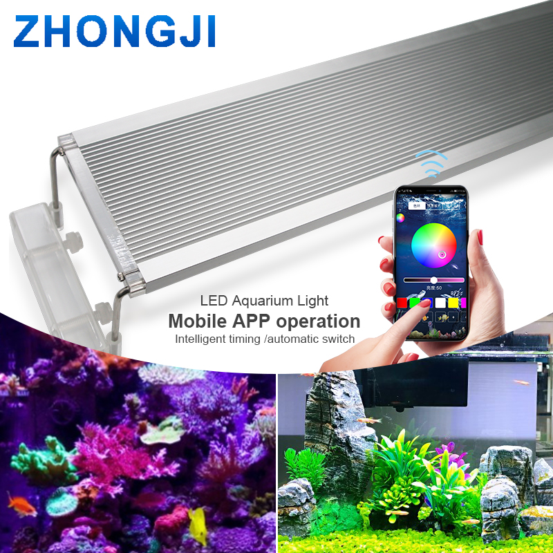 ZHONGJI soporte de luz de acuario marino RGB lámpara LED para acuario iluminación LED acuario luces LED lámpara 30CM 60CM 70CM 24 LEDs discoteca UV Bar luces fiesta Dj lámpara UV Color Wash LED de pared luces para Navidad láser proyector etapa pared luces