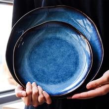 Pigmented Irregular Dish Japanese Style Ceramic Plates Creative Steak Dessert Tray Kitchen Dinner Plates Home Decor Tableware