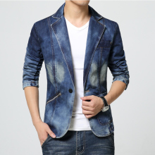 New Arrival 2017 Fashion Denim Blazer Men Designs Classic Blue Zipper Pocket Slim Fit Jeans Suit Male Causal Mens Blazer Jacket