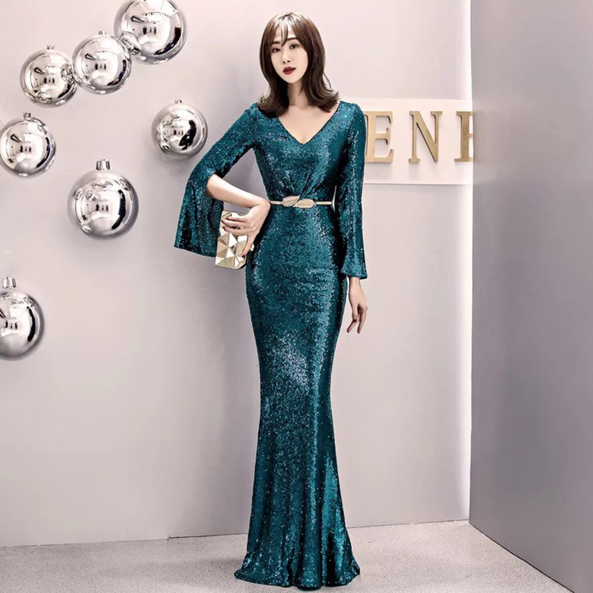 D173 Emerald green winter elegant high quality long sleeve sequined women dress
