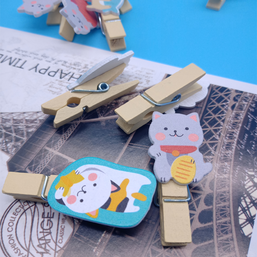 10pcs/lot Lucky Cat Wooden Clips Mini Photo Paper Craft Clip School Decoration Stationery With Hemp Rope