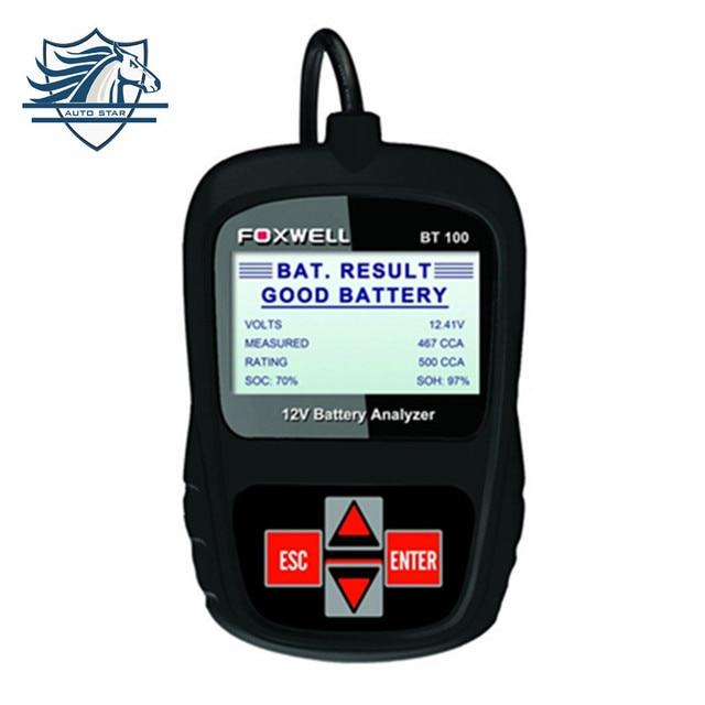 Top Sale FOXWELL BT100 12V Car Battery Tester for Flooded,AGM,GEL Original BT100 12 Volt Digital All Cars Data Battery Analyzer