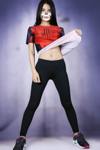 Superhero Deadpool Sexy Girls Crossfit Compression Short Sleeve T-shirt