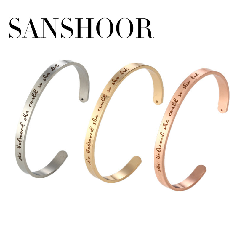 2018 New 6mm Personalized She believed she could so she did stamped Cuff Inspiration Mantra Bracelet Bangle 10pcs/lot